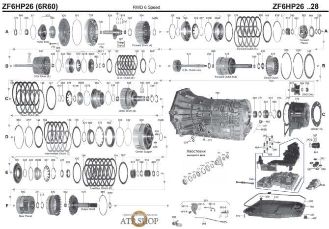 Конструкция АКПП 6hp26