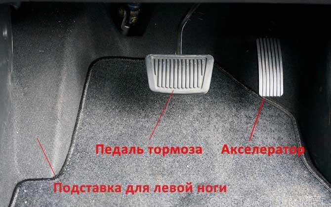 Педали управления в машине с автоматом